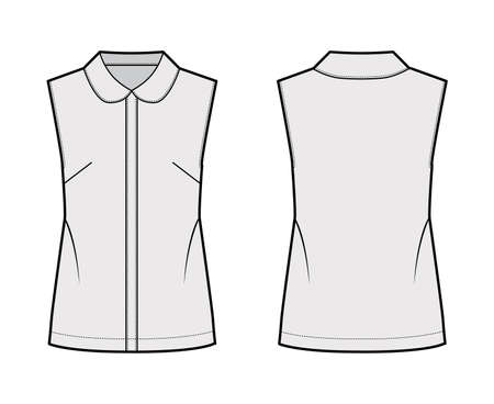 Blouse technical fashion illustration with round collar, sleeveless, loose silhouette, front button fastenings. Flat shirt apparel template front, back grey color. Women, men unisex top CAD mockup