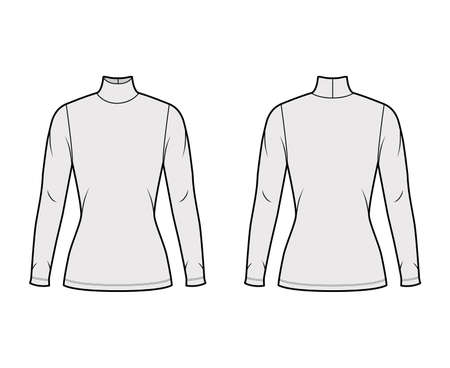 Turtleneck jersey sweater technical fashion illustration with long sleeves, close-fitting shape tunic length. Flat outwear apparel template front back grey color. Women men unisex shirt top CAD mockup