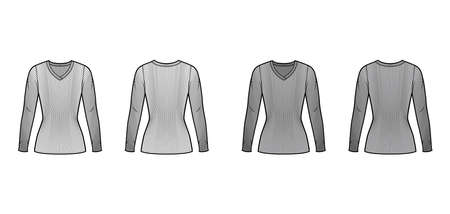 Ribbed V-neck knit sweater technical fashion illustration with long sleeves, close-fitting shape tunic length. Flat outwear apparel template front back white grey color. Women men unisex shirt top CAD