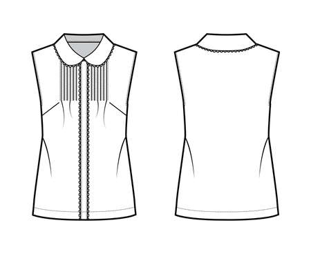 Pintucked blouse technical fashion illustration with round collar, scalloped lace, sleeveless, loose silhouette. Flat shirt apparel template front back white color. Women, men unisex top CAD mockup