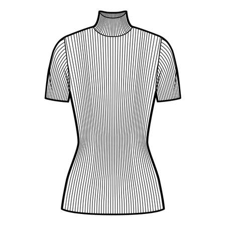 Turtleneck ribbed-knit sweater technical fashion illustration with short rib sleeves, close-fitting shape, tunic length. Flat sweater apparel template front white color. Women men unisex shirt top CAD Illustration