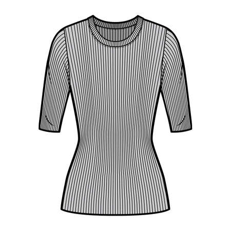 Ribbed crew neck knit sweater technical fashion illustration with elbow sleeves, close-fitting shape, tunic length. Flat outwear apparel template front grey color. Women men unisex top CAD mockup Иллюстрация