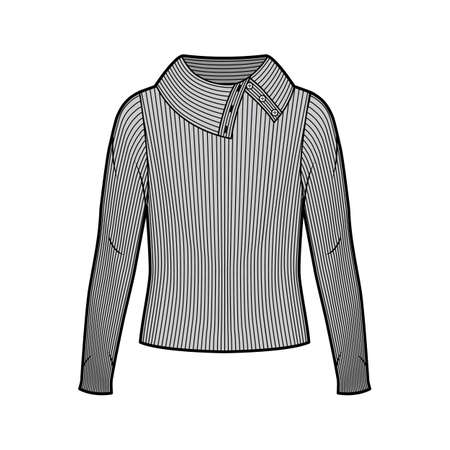 Wide button-up turtleneck ribbed-knit sweater technical fashion illustration with long sleeves, oversized body. Flat sweater apparel template front, grey color. Women men unisex shirt top CAD mockup Иллюстрация