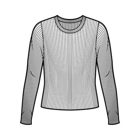 Ribbed crew neck knit sweater technical fashion illustration with long sleeves, oversized body. Flat outwear apparel template front white color. Women men unisex shirt top CAD mockup