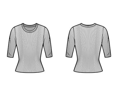 Ribbed crew neck knit sweater technical fashion illustration with short rib sleeves, tunic length. Flat outwear apparel template front, back white color. Women, men, unisex shirt top CAD mockup