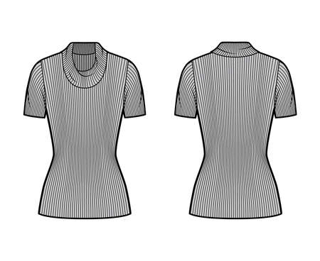 Ribbed cowl turtleneck knit sweater technical fashion illustration with short rib sleeves, tunic length. Flat outwear apparel template front, back grey color. Women, men, unisex shirt top CAD mockup