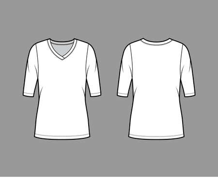 V-neck jersey sweater technical fashion illustration with elbow sleeves, oversized body, tunic length. Flat outwear apparel template front, back white color. Women, men unisex shirt top CAD mockup