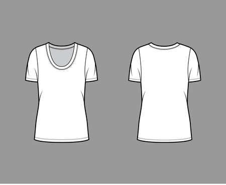 Scoop neck jersey t-shirt technical fashion illustration with short sleeves, oversized body, tunic length. Flat apparel template front back, white color. Women, men, unisex outfit top CAD mockup Vektorgrafik