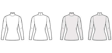 Turtleneck jersey sweater technical fashion illustration with long sleeves, close-fitting shape tunic length. Flat outwear apparel template front back white grey color. Women men unisex shirt top CAD