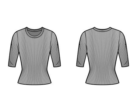 Ribbed crew neck knit sweater technical fashion illustration with short rib sleeves, tunic length. Flat outwear apparel template front, back grey color. Women, men, unisex shirt top CAD mockup