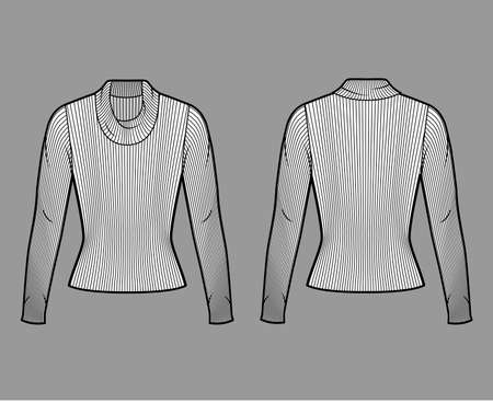 Ribbed cowl turtleneck knit sweater technical fashion illustration with long sleeves, close-fitting shape. Flat sweater apparel template front, back white color. Women, men unisex shirt top CAD mockup Иллюстрация