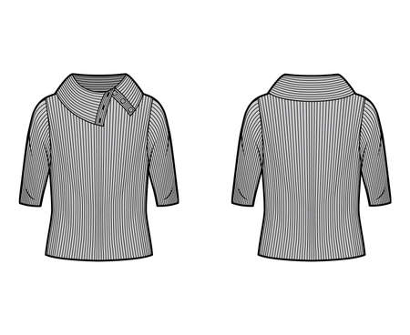 Wide button-up turtleneck ribbed-knit sweater technical fashion illustration with elbow sleeves, oversized body. Flat sweater apparel template front, back grey color. Women, men unisex shirt top CAD