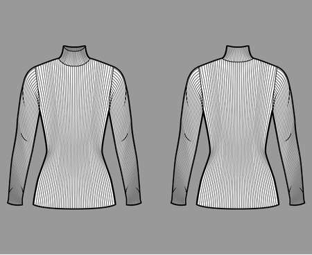 Turtleneck ribbed-knit sweater technical fashion illustration with long sleeves, close-fitting shape, tunic length. Flat sweater apparel template front back white color. Women men unisex shirt top CAD Иллюстрация