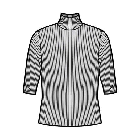 Turtleneck ribbed-knit sweater technical fashion illustration with elbow sleeves, oversized body. Flat sweater apparel template front, grey color. Women, men unisex shirt top