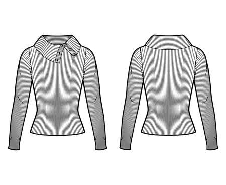 Wide button-up turtleneck ribbed-knit sweater technical fashion illustration with long sleeves, close-fitting shape. Flat sweater apparel template front, back white color. Women, men, unisex shirt top