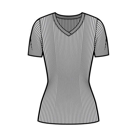 Ribbed V-neck knit sweater technical fashion illustration with short rib sleeves, tunic length. Flat outwear apparel template front, grey color. Women, men, unisex shirt top CAD mockup