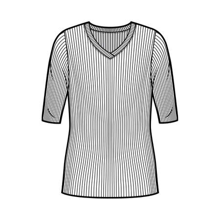 Ribbed V-neck knit sweater technical fashion illustration with elbow sleeves, oversized body, tunic length. Flat outwear apparel template front, white color. Women, men unisex shirt top CAD mockup Иллюстрация