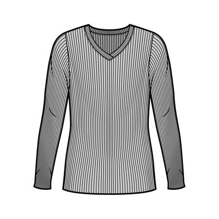 Ribbed V-neck knit sweater technical fashion illustration with long sleeves, oversized body, tunic length. Flat outwear apparel template front grey color. Women men unisex shirt top CAD mockup