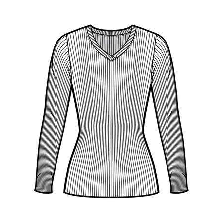 Ribbed V-neck knit sweater technical fashion illustration with long sleeves, close-fitting shape tunic length. Flat outwear apparel template front white color. Women men unisex shirt top CAD mockup Иллюстрация