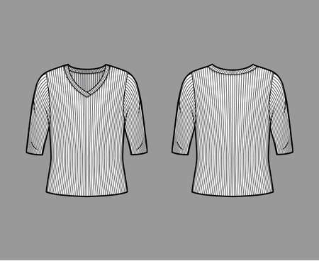 Ribbed V-neck knit sweater technical fashion illustration with elbow sleeves, oversized body. Flat outwear apparel template front, back white color. Women, men unisex shirt top CAD mockup