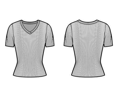 Ribbed V-neck knit sweater technical fashion illustration with short rib sleeves, close-fitting shape. Flat outwear apparel template front, back white color. Women, men, unisex shirt top CAD mockup