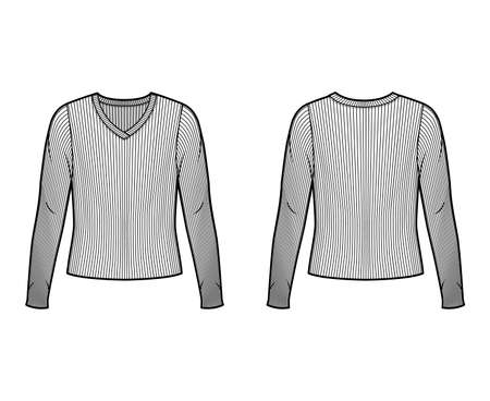 Ribbed V-neck knit sweater technical fashion illustration with long sleeves, oversized body. Flat outwear apparel template front back white color. Women men unisex shirt top CAD mockup