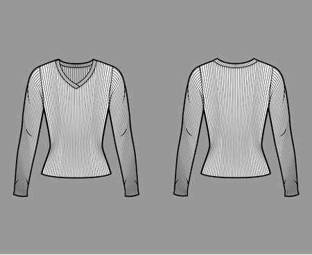 Ribbed V-neck knit sweater technical fashion illustration with long sleeves, close-fitting shape. Flat outwear apparel template front, back white color. Women men, unisex shirt top CAD mockup