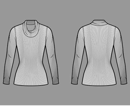 Ribbed cowl turtleneck knit sweater technical fashion illustration with long sleeves, close-fitting shape tunic length. Flat sweater apparel template front back white color. Women men unisex shirt top