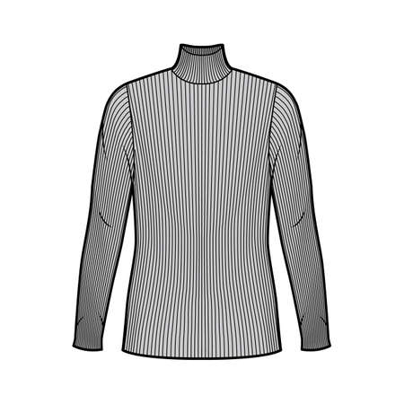 Turtleneck ribbed-knit sweater technical fashion illustration with long sleeves, oversized body, tunic length. Flat sweater apparel template front grey color. Women men unisex shirt top CAD mockup
