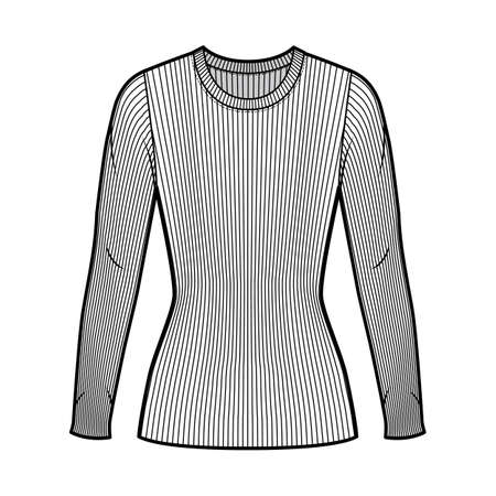 Ribbed crew neck knit sweater technical fashion illustration with long sleeves, close-fitting shape tunic length. Flat outwear apparel template front white color. Women men unisex shirt top mockup