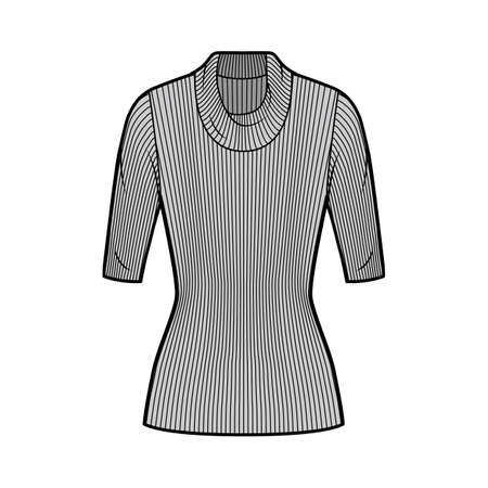 Ribbed cowl turtleneck knit sweater technical fashion illustration with elbow sleeves, close-fitting shape, tunic length. Flat sweater apparel template front, grey color. Women men unisex top CAD