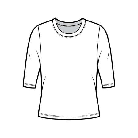 Crew neck jersey sweater technical fashion illustration with elbow sleeves, oversized body. Flat outwear apparel template front, white color. Women, men unisex shirt top CAD mockup