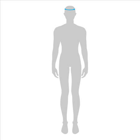 Men to do head measurement fashion Illustration for size chart. 7.5 head size boy for site or online shop. Human body infographic template for clothes. Illustration