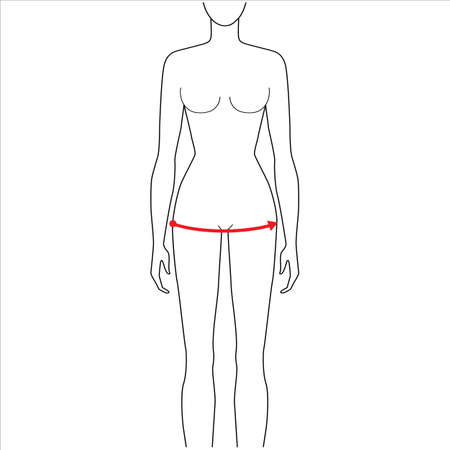 Women to do hip measurement fashion Illustration for size chart. 7.5 head size girl for site or online shop. Human body infographic template for clothes.