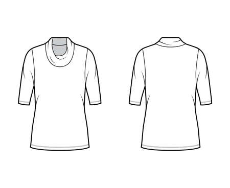 Cowl turtleneck jersey sweater technical fashion illustration with elbow sleeves, oversized body, tunic length. Flat outwear apparel template front back white color. Women, men unisex shirt CAD mockup Illustration