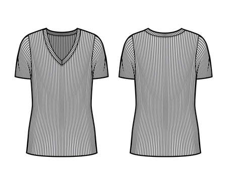 Ribbed V-neck knit sweater technical fashion illustration with short rib sleeves, oversized body tunic length. Flat outwear apparel template front back grey color. Women men unisex shirt top mockup