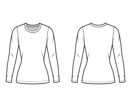 Crew neck jersey sweater technical fashion illustration with long sleeves, close-fitting shape tunic length. Flat outwear apparel template front back white color. Women men unisex shirt top CAD mockup