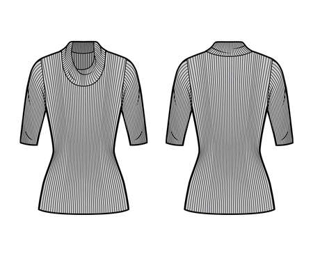 Ribbed cowl turtleneck knit sweater technical fashion illustration with elbow sleeves, close-fitting shape, tunic length. Flat sweater apparel template front, back grey color. Women men unisex top CAD