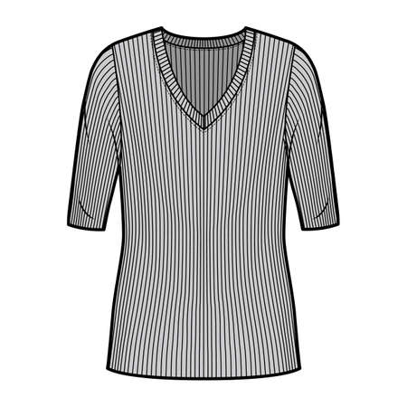 Ribbed V-neck knit sweater technical fashion illustration with elbow sleeves, oversized body, tunic length. Flat outwear apparel template front, grey color. Women, men unisex shirt top CAD mockup