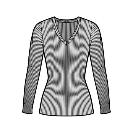 Ribbed V-neck knit sweater technical fashion illustration with long sleeves, close-fitting shape tunic length. Flat outwear apparel template front grey color. Women men unisex shirt top CAD mockup