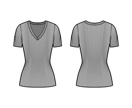 Ribbed V-neck knit sweater technical fashion illustration with short rib sleeves, tunic length. Flat outwear apparel template front, back grey color. Women, men, unisex shirt top CAD mockup