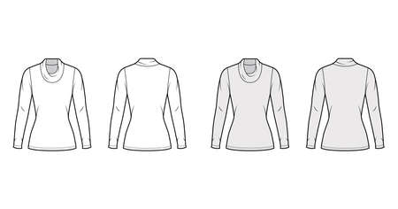 Cowl turtleneck jersey sweater technical fashion illustration with long sleeves, close shape, tunic length. Flat outwear apparel template front back white grey color. Women men unisex shirt top mockup