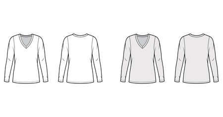 Deep V-neck jersey sweater technical fashion illustration with long sleeves, oversized body, tunic length. Flat shirt apparel template front back white grey color. Women men unisex outfit top mockup