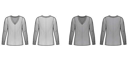 Ribbed V-neck knit sweater technical fashion illustration with long sleeves, oversized body, tunic length. Flat outwear apparel template front back white grey color. Women men unisex shirt top mockup
