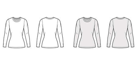 Crew neck jersey sweater technical fashion illustration with long sleeves, close-fitting shape, tunic length. Flat outwear apparel template front back white grey color. Women men unisex shirt top CAD