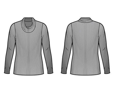 Ribbed cowl turtleneck knit sweater technical fashion illustration with long sleeves, oversized body, tunic length. Flat sweater apparel template front back grey color. Women men unisex shirt top CAD