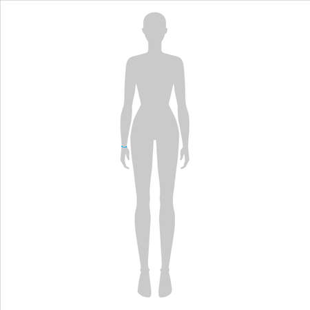 Women to do wrist measurement fashion Illustration for size chart. 7.5 head size girl for site or online shop. Human body infographic template for clothes.