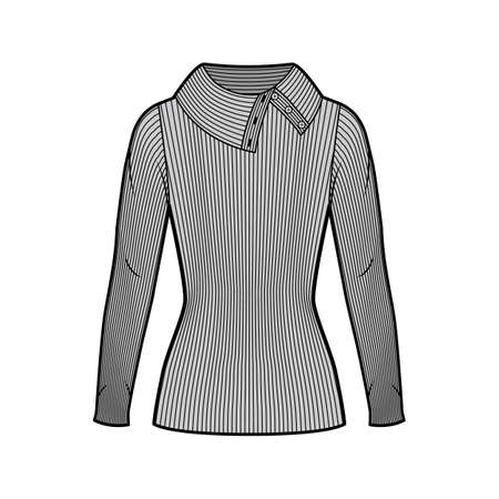 Wide button-up turtleneck ribbed-knit sweater technical fashion illustration with long sleeves, close shape, tunic length. Flat sweater apparel template front grey color. Women men unisex shirt top