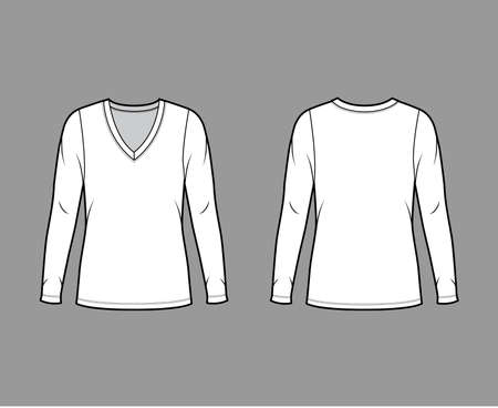 Deep V-neck jersey sweater technical fashion illustration with long sleeves, oversized body, tunic length. Flat shirt apparel template front back white color. Women men unisex outfit top CAD mockup Illustration