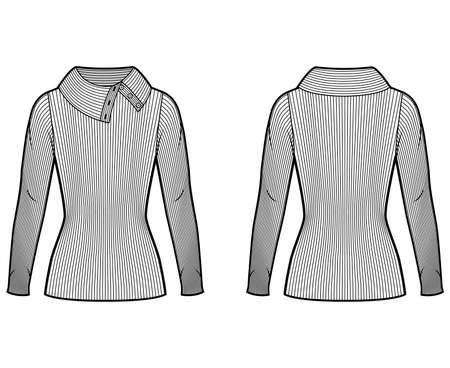Wide button-up turtleneck ribbed-knit sweater technical fashion illustration with long sleeves, close shape, tunic length. Flat sweater apparel template front back white color. Women men unisex shirt